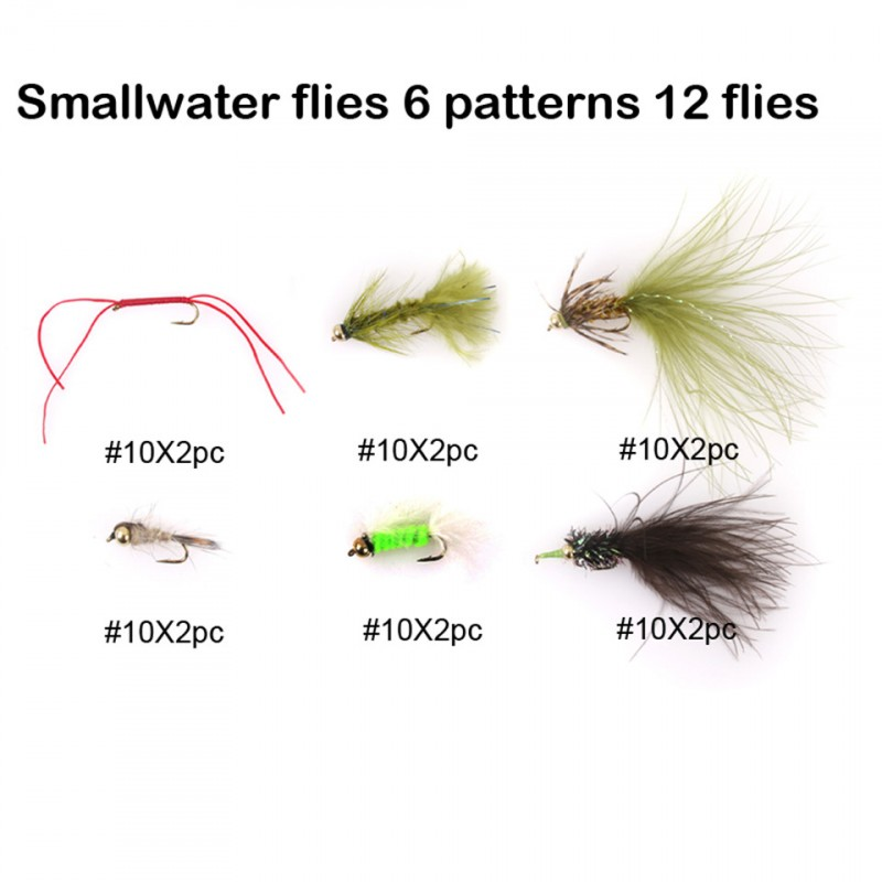 Flies Assortment Smallwater Flies 10# Hooks 6 Patterns 12pcs Fly Fishing Flies