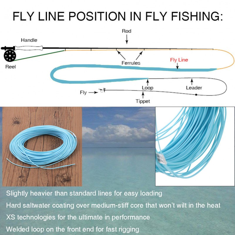 Saltwater Fly Fishing Line WF7F 8F 9F 1welded Loop 90' Floating Sea Blue