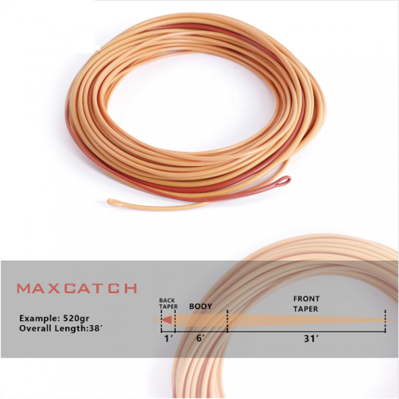 Maxcatch Scandi Shooting Head 36-39FT 440-580gr Fly Line With 2 Welded Loops