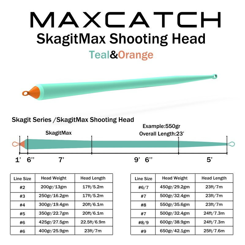 Skagit Shooting 200-650gr 17-25FT Head Fly Line Blue