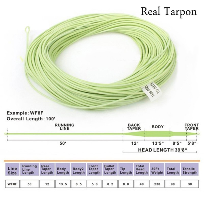 WF8F Tarpon Fly Line 100FT Sea Grass Saltwater/Freshwater Weight Forward Floating Fly Fishing Line