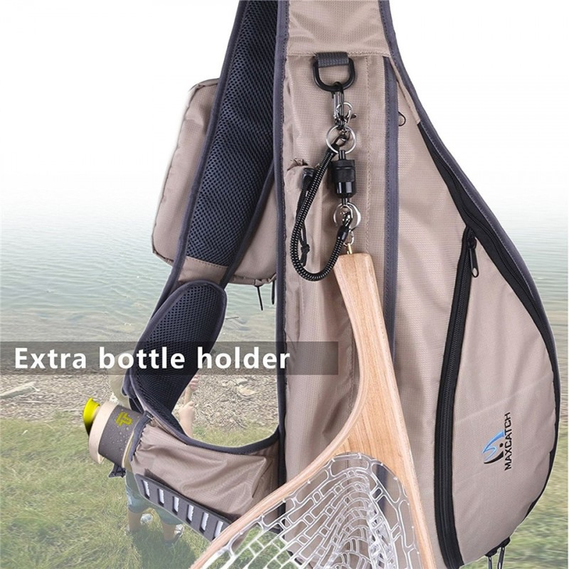 Tenkara Fly Fishing Sling Pack Bag Fishing Net and Rod Bag with Fly Patch