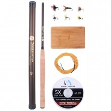 Tenkara Fly Fishing Kit (11 ft./12 ft./13 ft.) - IM10/36T Carbon Fishing Rod, Line, Box & Flies