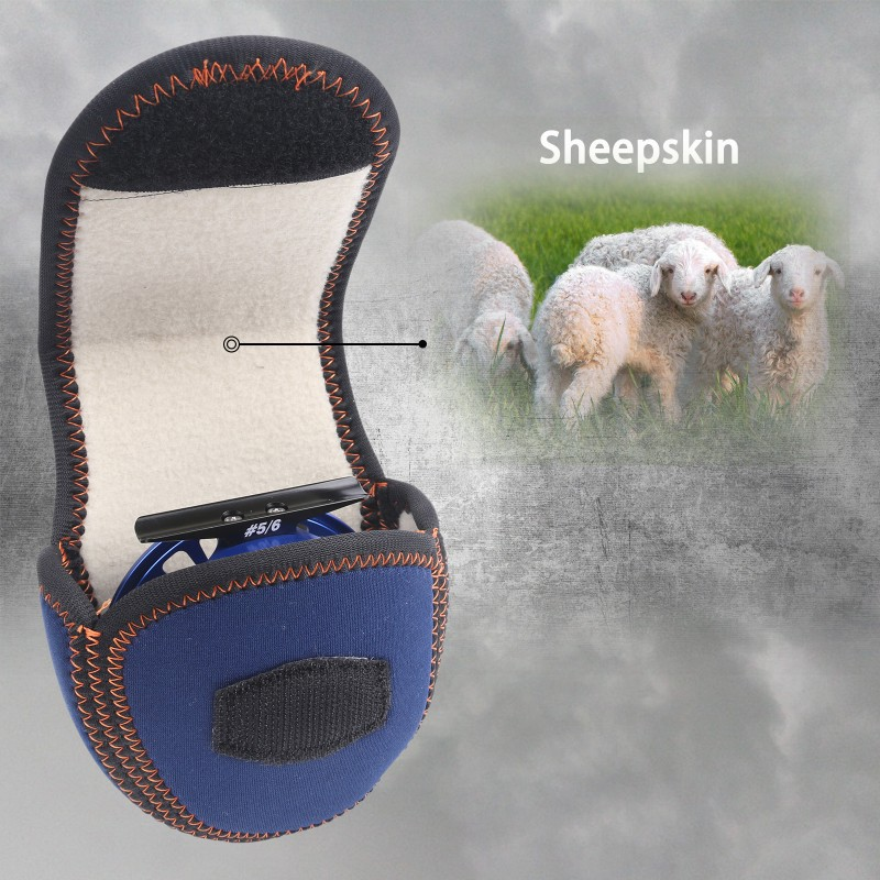 The Best Elastic Sheep skin Lined Fly Reel Cover/Case