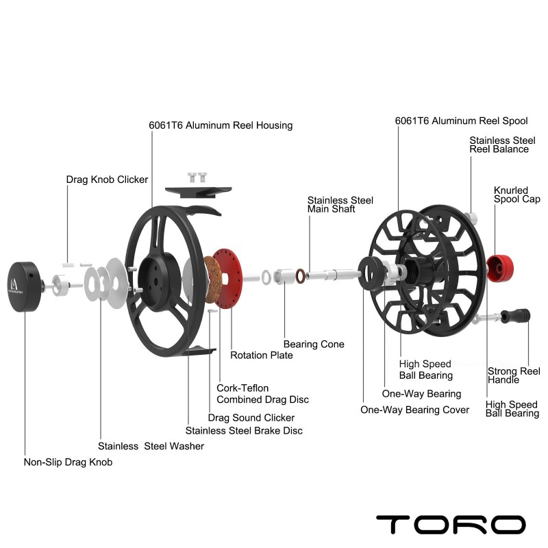 1! TORO Aluminum Large Arbor Fly Fishing Reel
