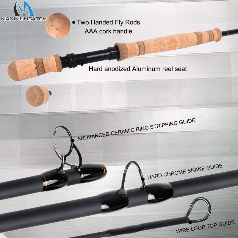 Two-handed Switch & Spey fly rods fast action Fly Fishing rod with cordura tube