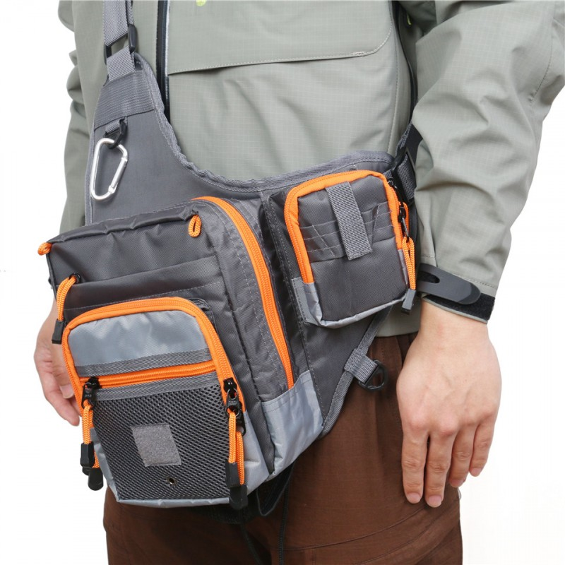 V-Cross Waterproof Multi Function Fishing Waist Bag Pack Fishing Sling Bag with Fly Patch