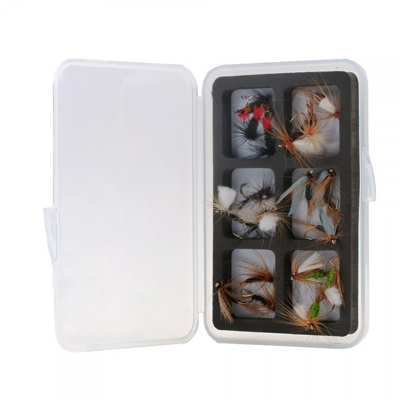 2Pcs Transparent Waterproof Fly Fishing Boxes Small Size Flies Hook Holders Slim Plastic Fly Box