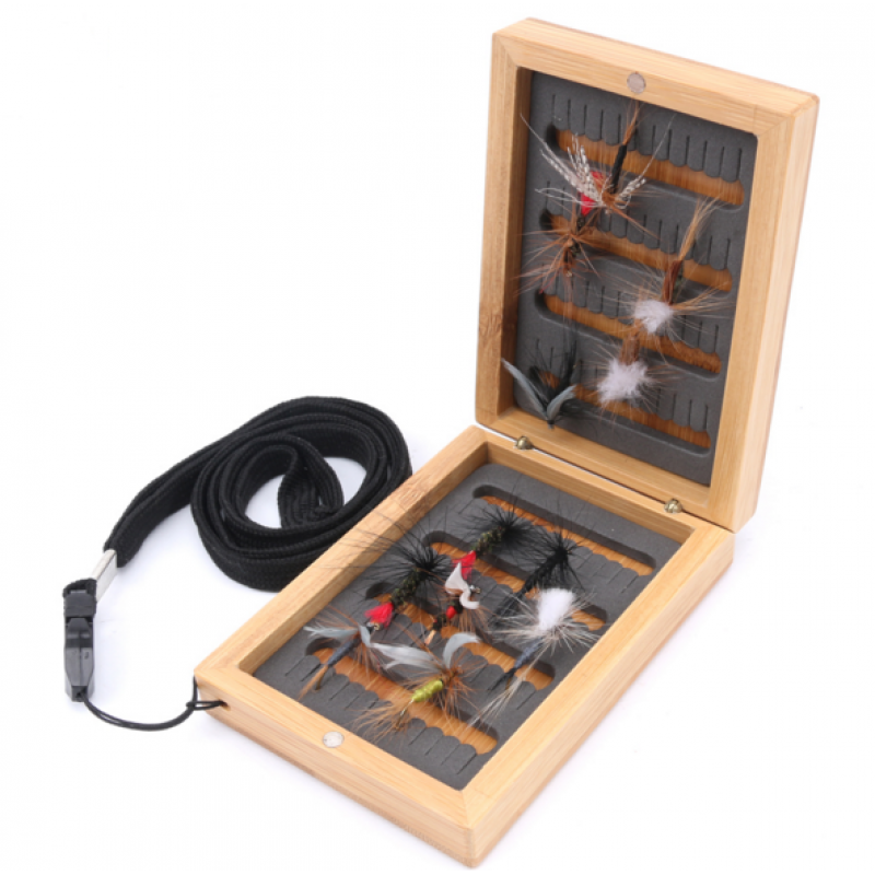 Bamboo Magnetic Fly Box With Strap Wooden Fly Fishing Box