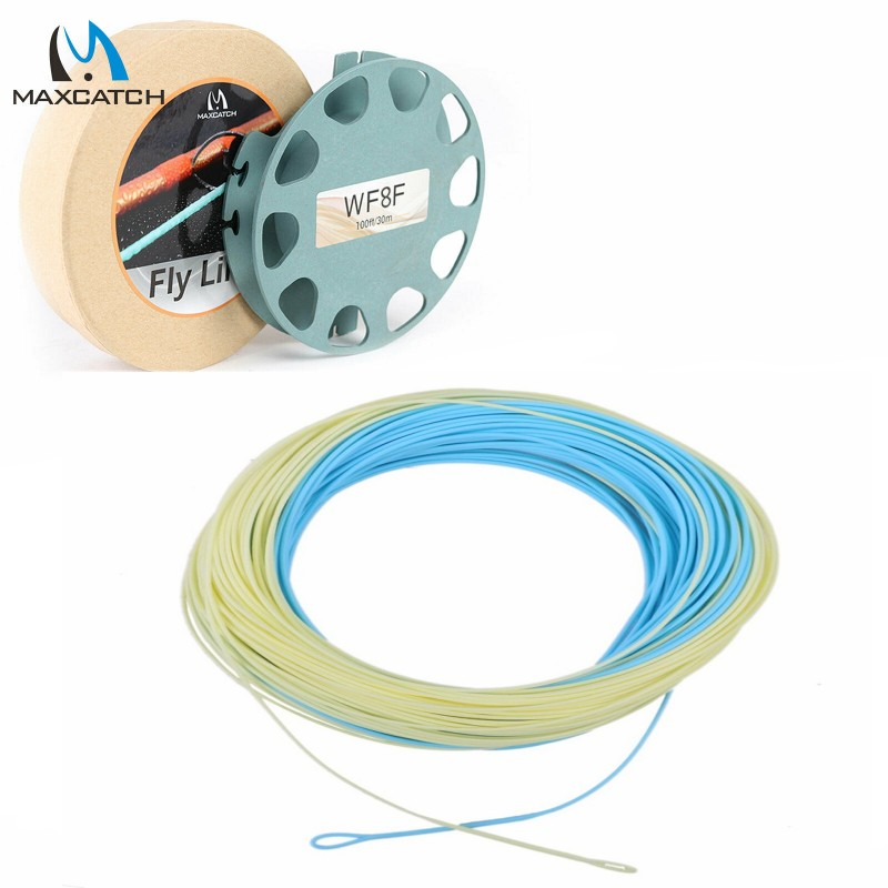 Bonefish Fly Line 100 FT 8WT Sand / Blue Color With 2 Welded Loops Saltwater Fly Fishing Line