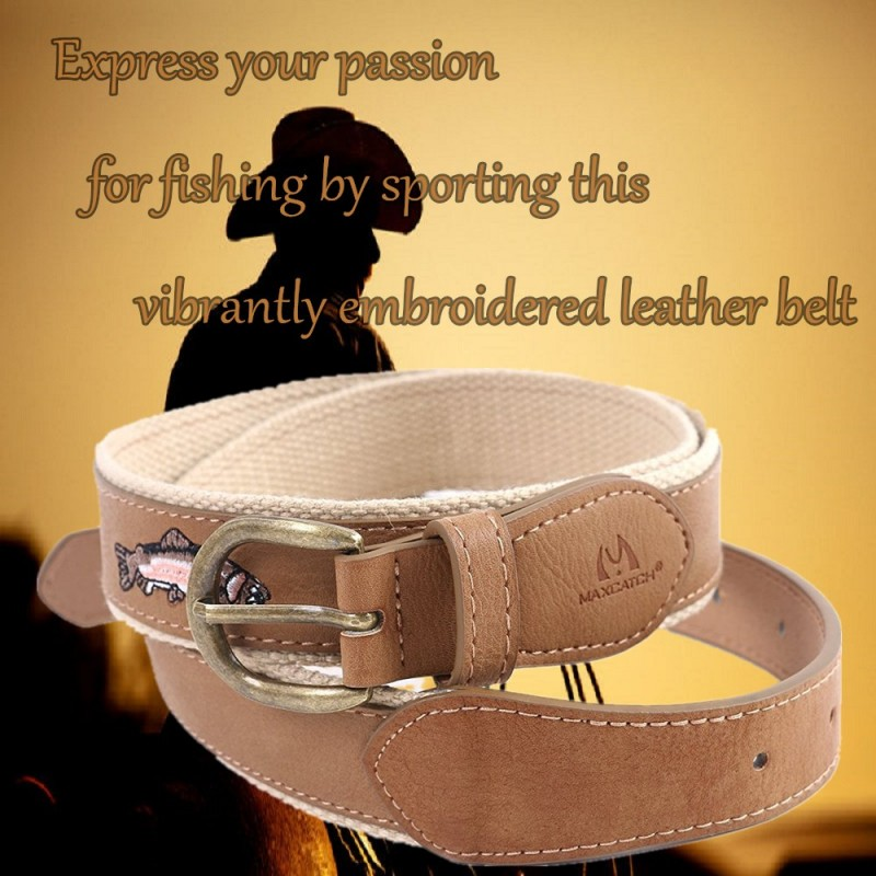 Tan Embroidered Leather&Nylon Trout Fish Belt