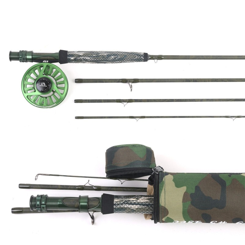 5WT 9' Camo Fly Rod & Reel Combo Fast Action Fishing Rod+5/6WT Fly Fishing Reel