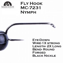 100pcs Nymph Fly Tying Hooks MC-7231 10# 12# 14# Jig Barbless Black Nickle Fly Fishing Hook