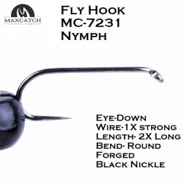 50pcs Nymph Fly Tying Hooks MC-7231 10# 12# 14# Jig Barbless Black Nickle Fly Fishing Hook