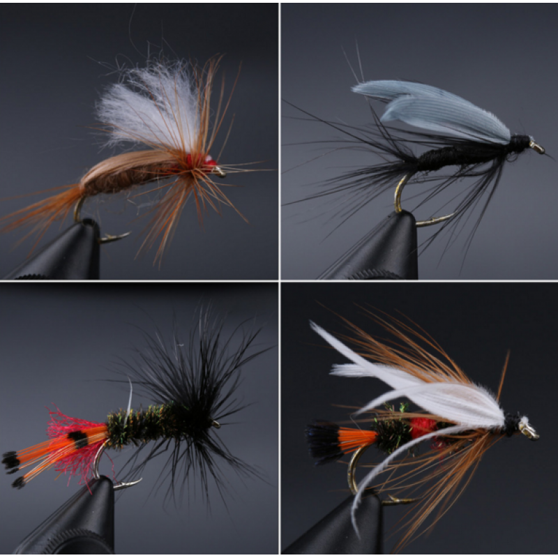 Mixed Dry Flies Pack/set Feather Bait Hook Fly Flies Fish Hook Lures Fishing Flies