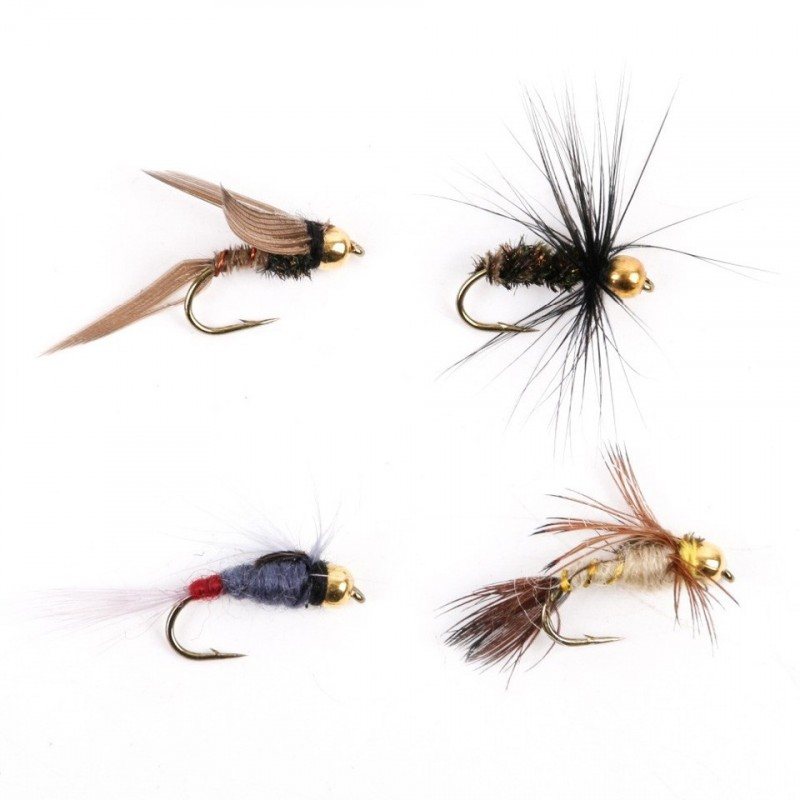 Gold Head Nymph Flies 10# Assortment 8 patterns Panfish High Carbon Steel Hook