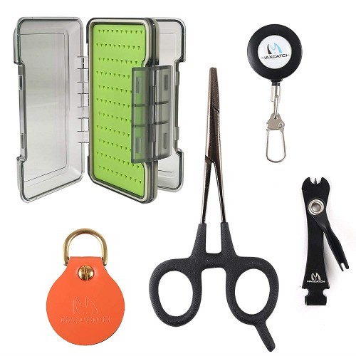 Fly Fishing Tool Combo Line Nipper/Forceps/Zinger/Leader Straightener (UMSA Fly Box+Accessories)