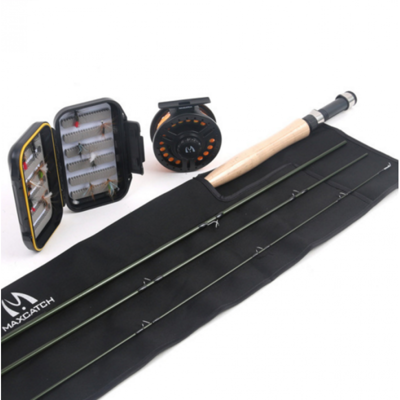 Whole combo 5WT 4Pieces 9ft Fly Fishing Rod Carbon Fiber Fly Rod with 5/6wt reel and lines&box&flies Combo