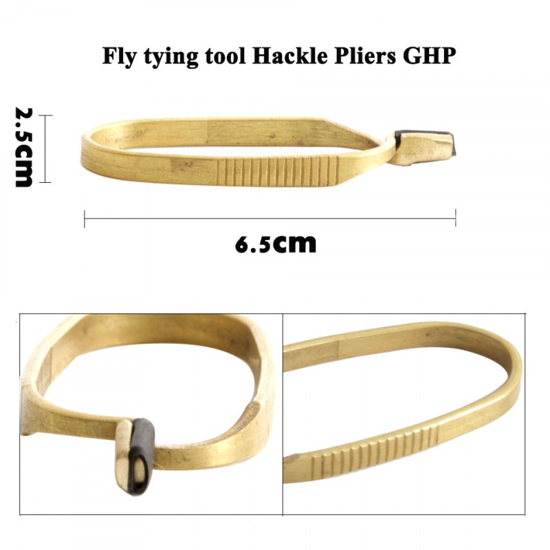 Fly Tying Tools Stainless steel and Brass Hackle Pliers Non skid Flies Making Fishing Accessories
