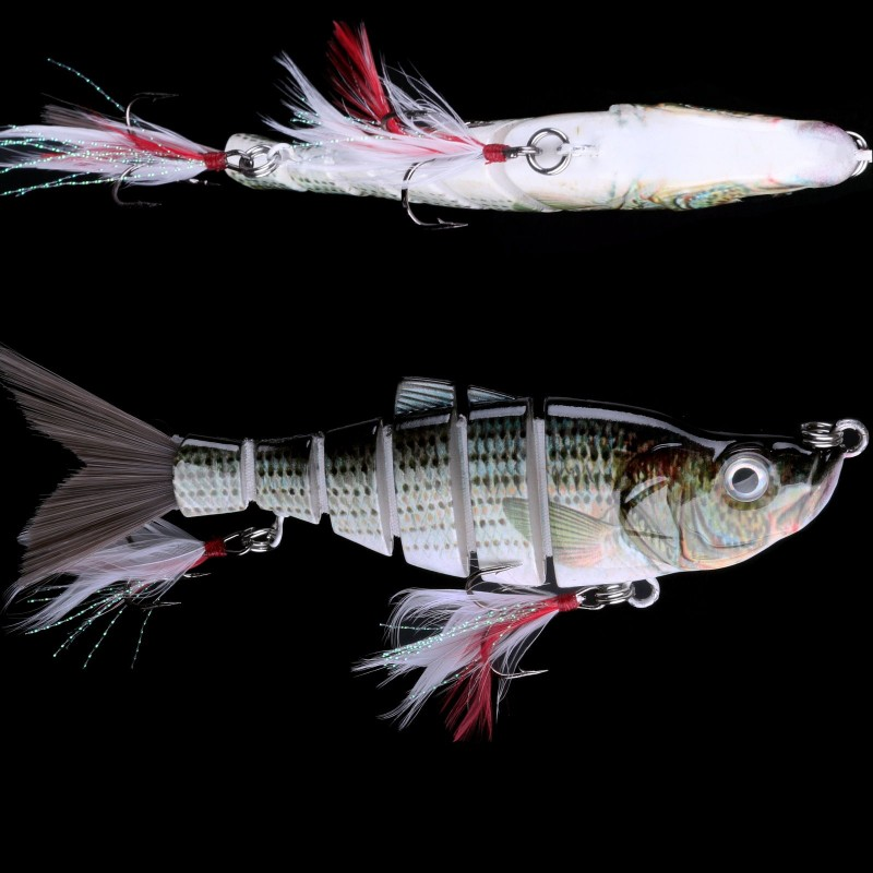 Multi Jointed Fishing Hard Lure Swimbait 6 Segments Artificial Bite&Feather Hook