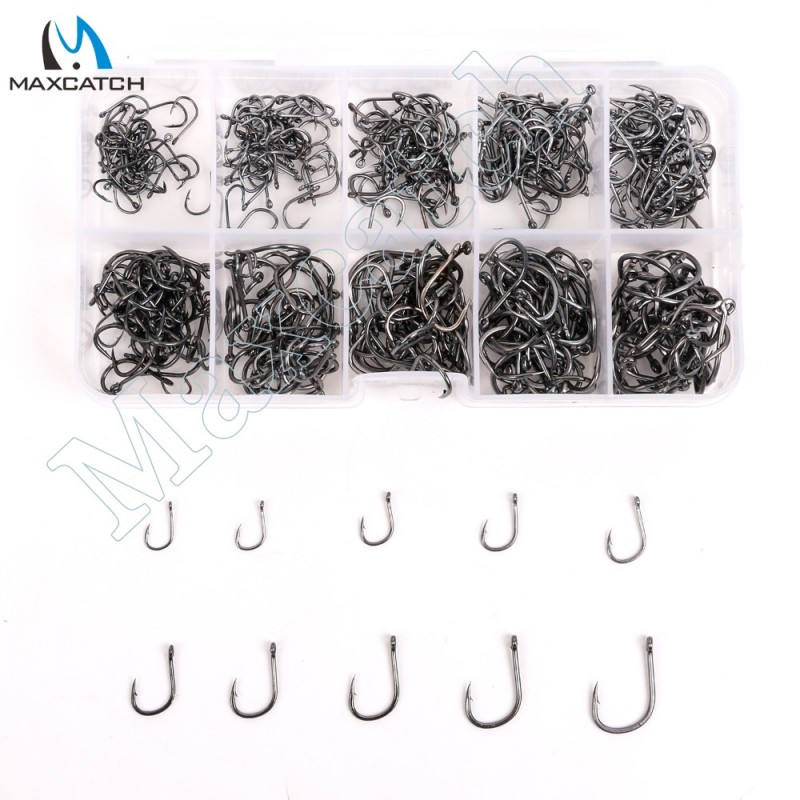 450Pcs 10 Sizes Carbon Steel Fish Hooks Carp Fishing Jig Head Set Fishing Tackle Box Fishing Hook 3-12# Pesca