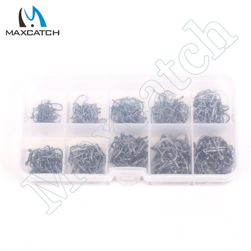 400Pcs 10 Sizes Carbon Steel Fish Hooks Carp Fishing Jig Head Set Fishing Tackle Box Fishing Hook 3-12# Pesca