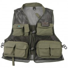 Super Light Breathable Fly Fishing Vest Multi-Pockets Outdoor Fishing Jacket Army Green Color Fishing Vest