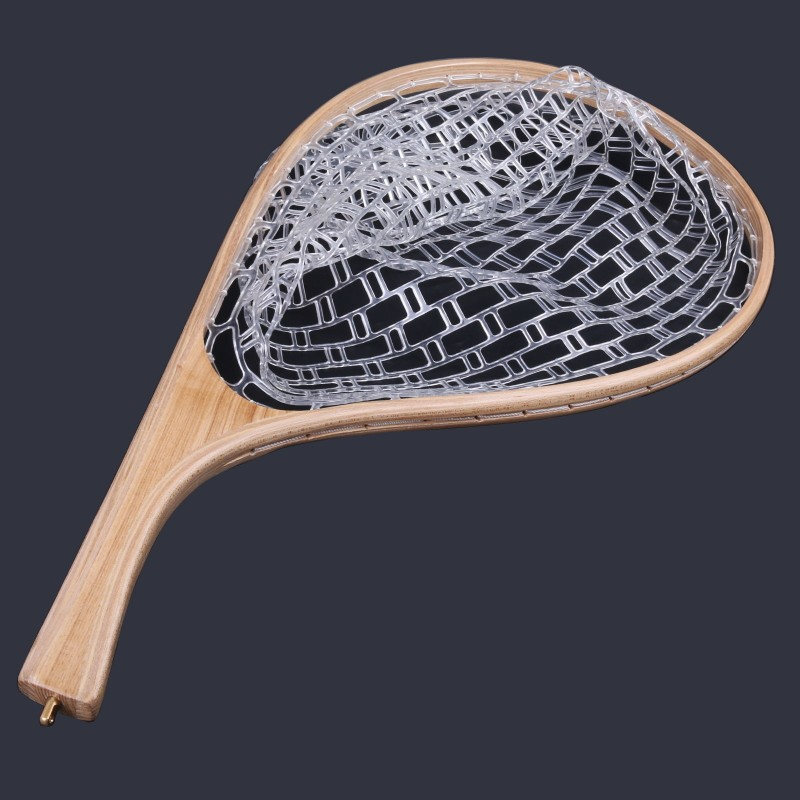 Landing Net Rubber Trout Catch and Release Net & Curve Wood Handle
