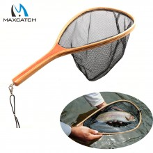 Nylon Landing Fly Fishing Net Wooden Handle Fishing Net