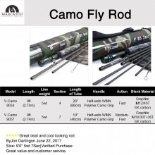 Camo Fly Rod 9ft 5WT 4Sec / 7Sec Graphite Camo Blank Cordura Fishing Rod Tube