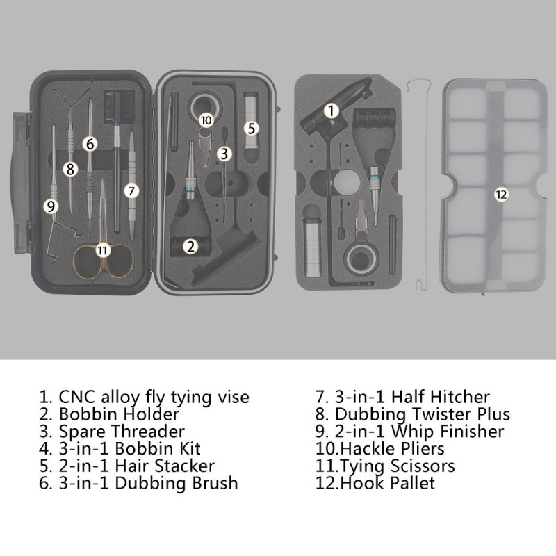 Whole combo Fly Tying Tool Set Traveller Tackle Kit