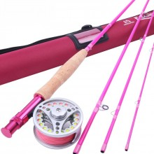 Elegant Fly Fishing Combo Medium-fast Pink Fly Rod & Fly Reel & Line for Lady