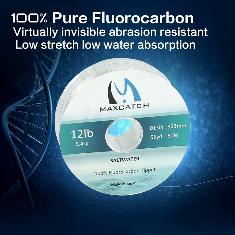 100% Fluorocarbon Saltwater Tippet Fly Fishing Line 50M 12lb/16lb/20lb