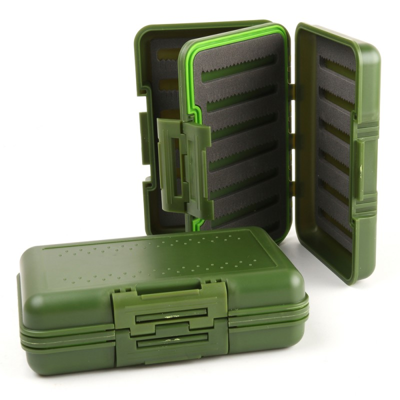 Fly Fishing Box Olive Green Waterproof Slit Foam Fly Fishing Box With Swing Leaf