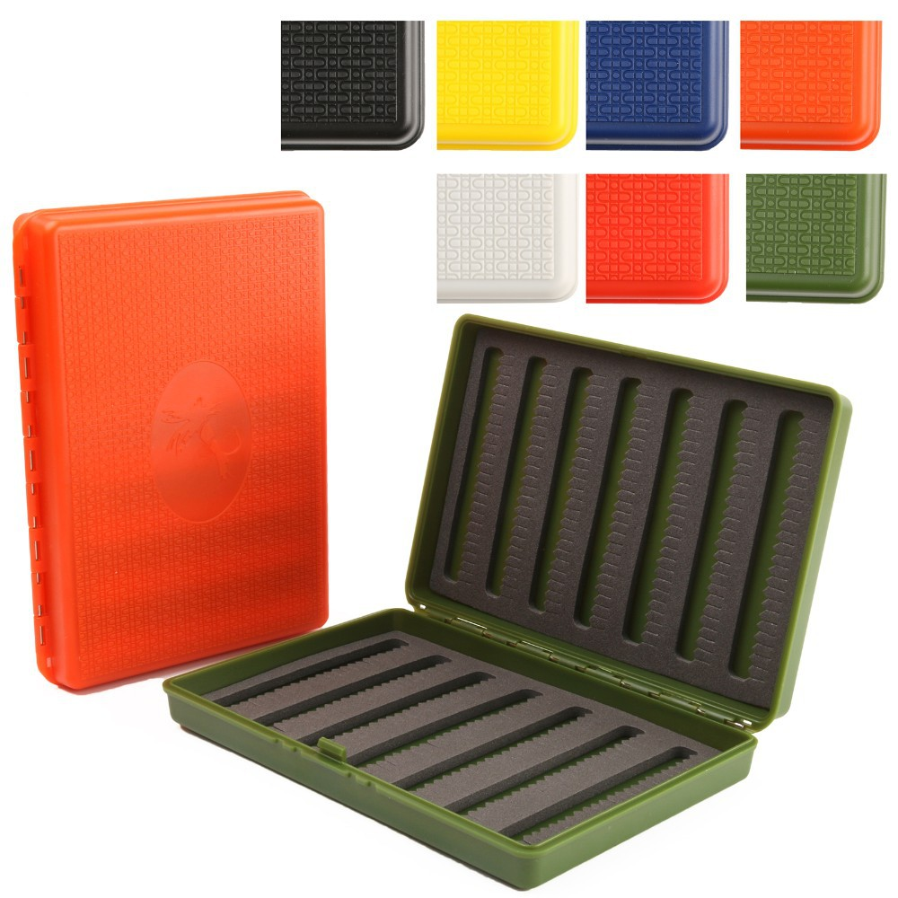 7 Colors For Choose 156*108*28mm Slim Pocket Plastic Wateproof Fly Fishing Box