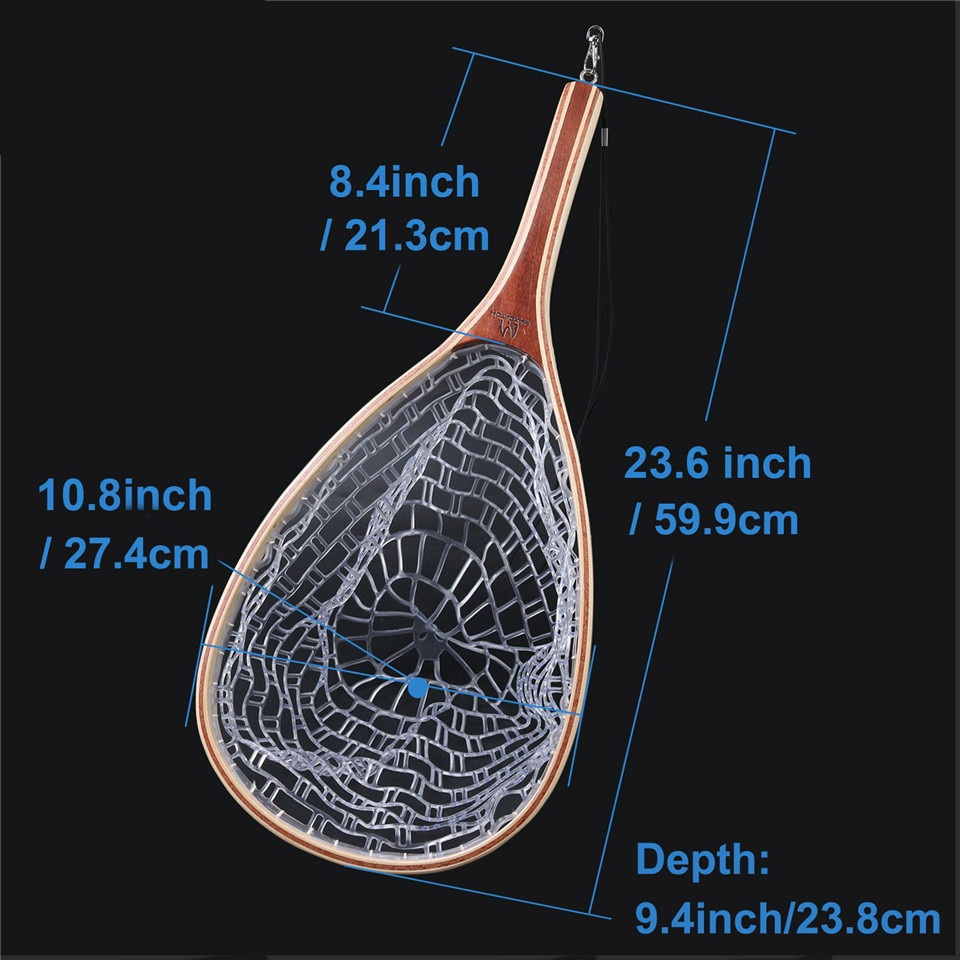Fly Fishing Landing Net Trout Rubber Net With Wooden Handle
