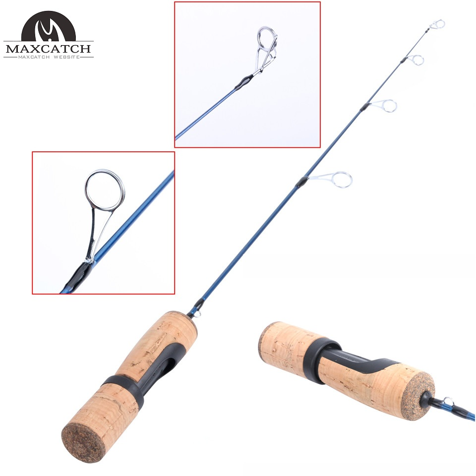 Maxcatch 25'' Light Ice Fishing Rod 1 Sec Solid Carbon Graphite Spinning Pole