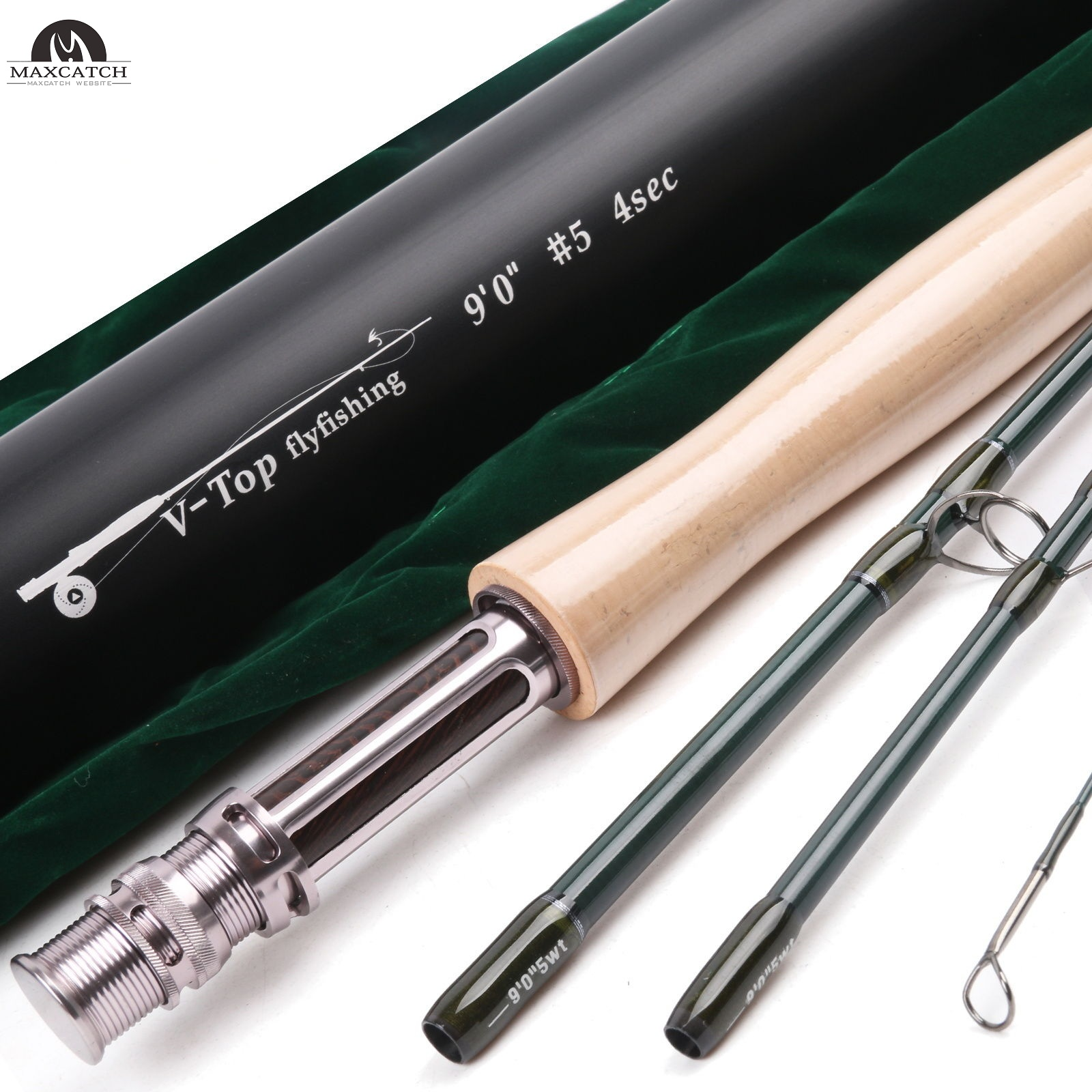 V-TOP 9FT 4Piece Fast Action Fly Fishing Rod (IM12) & Aluminum Tube<Lifetime Warranty>
