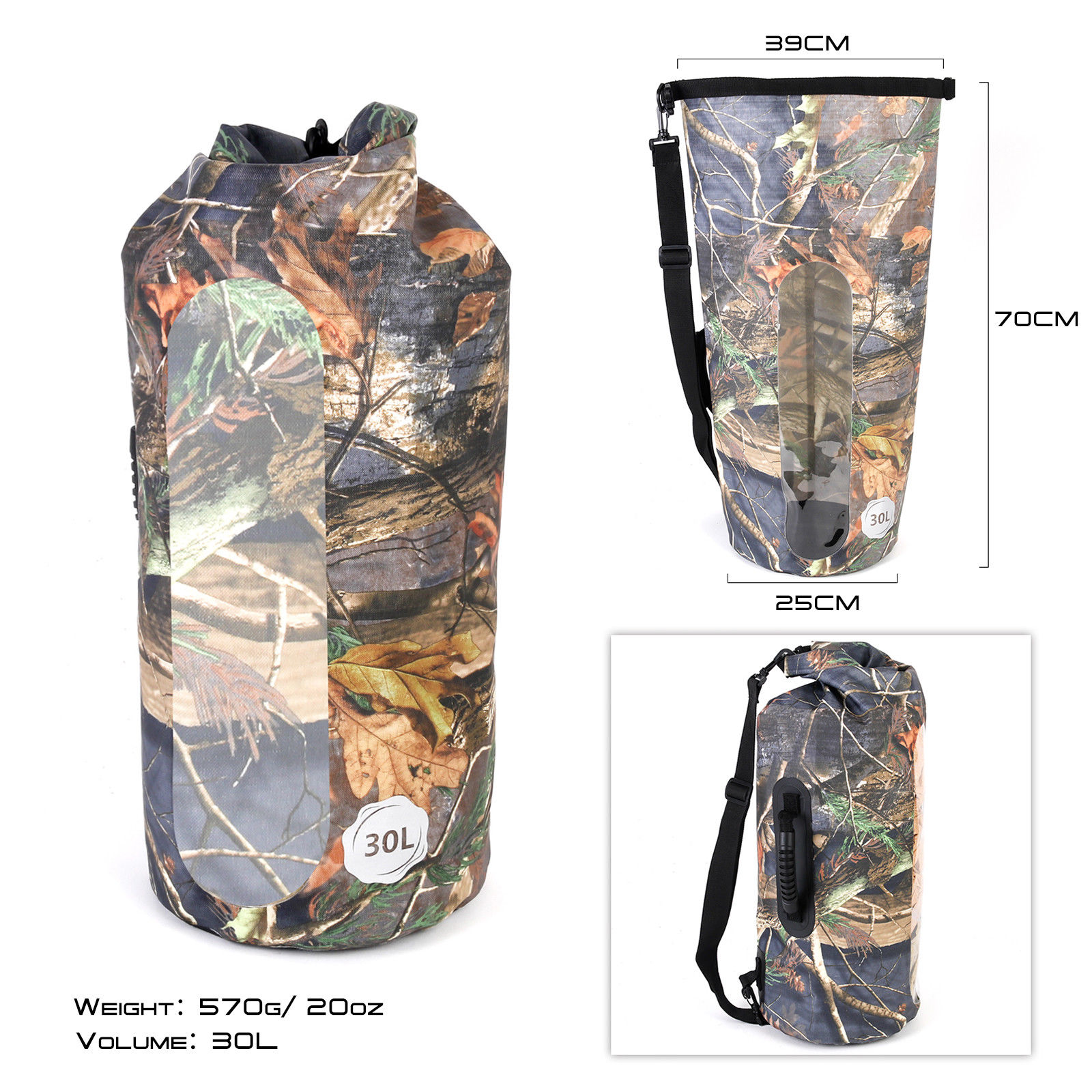 Eco-friendly strong PVC material 30L 100% Waterproof Dry Bag Camo for fishing