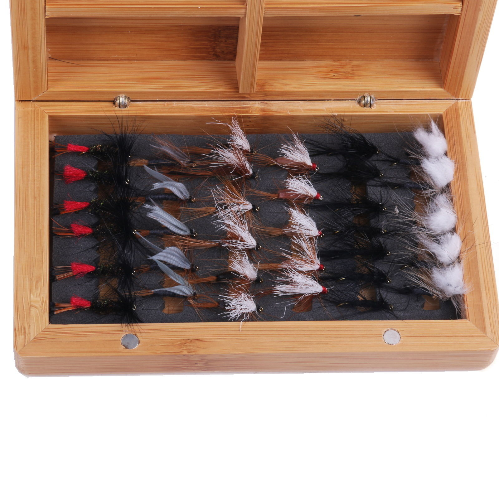 Classic Fly Box Bamboo Natural Fly Fishing Box & Micro Slit Foam & Dry Flies