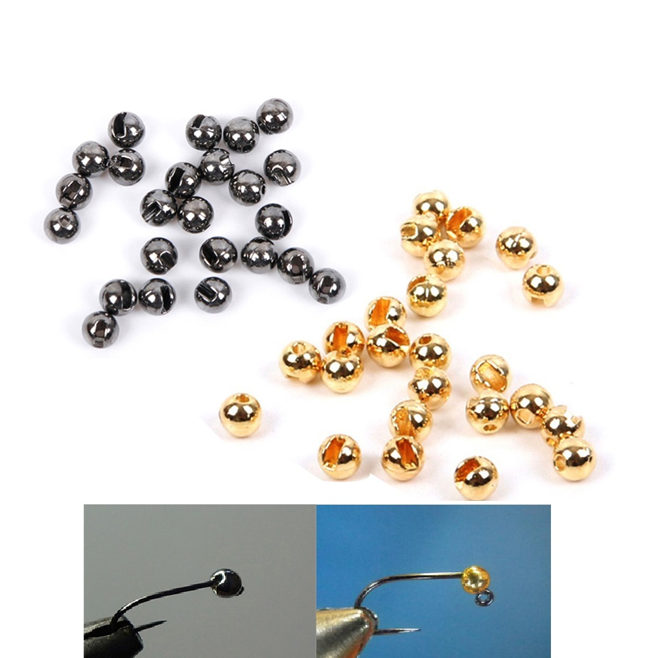 25Pcs/lot Nice-Designed Slotted Fly Tying Beads Tungsten